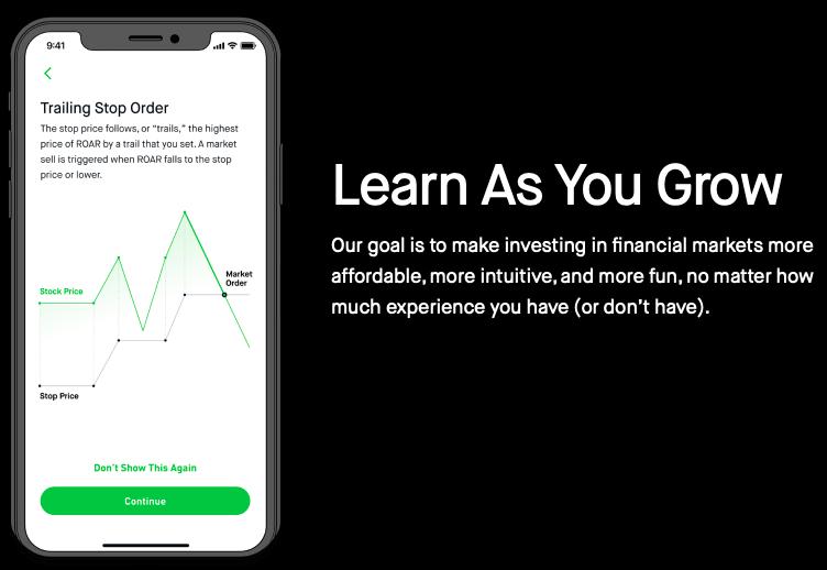 [Imagen] - Página oficial de Robinhood invitando a los usuarios a operar de manera ''divertida''